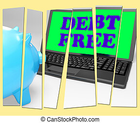 Debt Free Piggy Bank Shows No Debts And Financial Freedom -...
