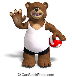funny bear plays volleyball - cute little bear plays...