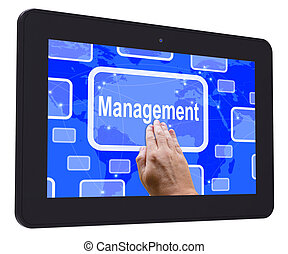 Management Tablet Touch Screen Shows Managing  And Leadership