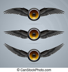 Three two-winged music speakers