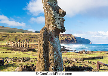Moai at Ahu Tongariki - One Moai in the foreground with...