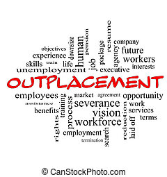 Outplacement Word Cloud Concept in red caps