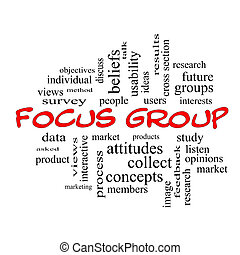 Focus Group Word Cloud Concept in red caps with great terms...