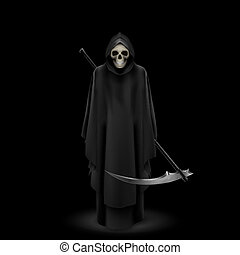 Angel of death on black - Angel of death with a scythe in...