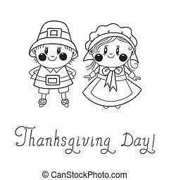 Thanksgiving Day children Pilgrim Couple. Vector...