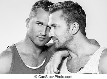 Handsome guys at home - Close-up. Attractive, best friends