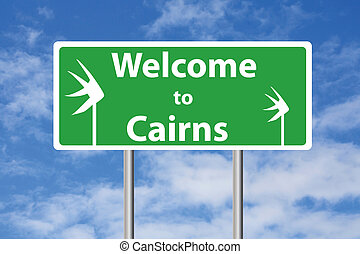 Welcome to Cairns sign with sky background