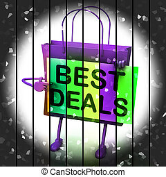 Best Deals Shopping Bag Represents Bargains and Discounts