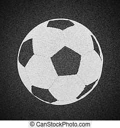 Soccer ball painted on asphalt texture