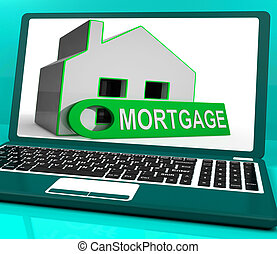 Mortgage House Laptop Shows Owing Money For Property -...