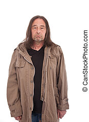 Old Man in Trench Coat Frowning - Old Man with long hair in...
