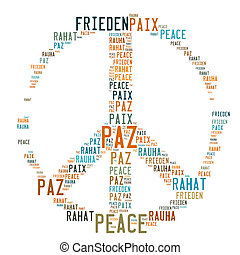 Peace Sign Shaped Word Cloud on white background