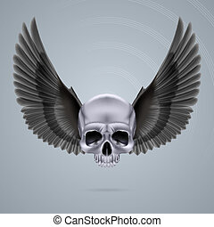 Metal chrome skull with two wings - Metal chrome skull with...