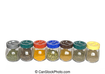 Jars with various exotic spices (fenugreek,allspice tree, turmeric, cardamom, curry) isolated on white background