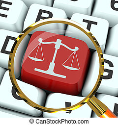 Scales Of Justice Key Magnified Means Law Trial - Scales Of...