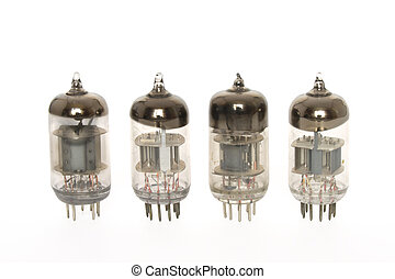 Old vacuum tubes on white background