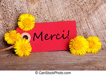Red Tag with Merci - Red Tag with the French Word Merci...