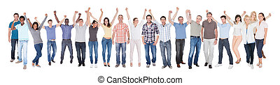 Diverse People In Casuals Celebrating Success - Full length...