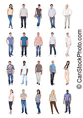 Collage Of Multiethnic People In Casuals - Collage of...
