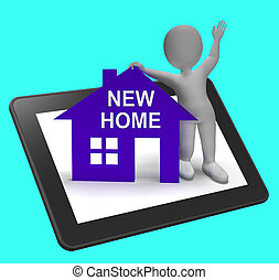 New Home House Tablet Shows Buying Property And Moving In