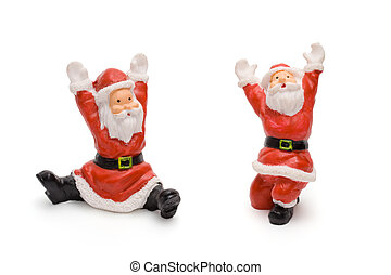 Santa Claus figurines isolated on white background