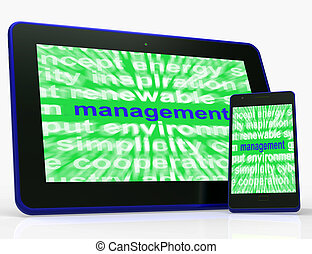 Management Tablet Shows Authority Administration And...