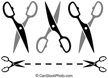 set metal scissors with dotted line - set metal scissors...