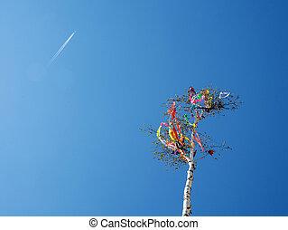 Looking up at may pole and aircraft