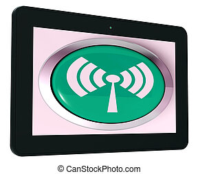 Wifi Tablet Shows Wireless Internet Access Transmitter
