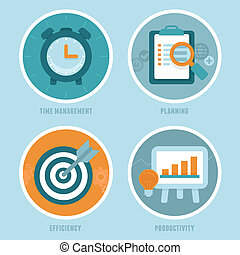 Vector time management concepts in flat style - modern icons...