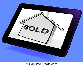 Sold House Tablet Shows Purchase Of Home Or Property