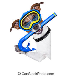 scuba dog with snorkel and goggles beside white blank banner...