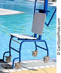 Ingenious Chair for disabled people to make use of the pool...
