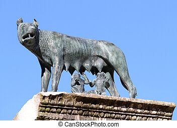 she-wolf nursing twins while founders of Rome with blue sky...