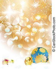 Christmas background with baubles and copyspace.