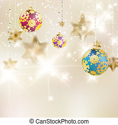 Christmas background with baubles.
