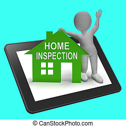 Home Inspection House Tablet Shows Examine Property Close-Up
