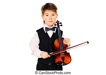 young violinist - Little boy musician posing with his...