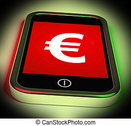 Euro Sign On Mobile Shows European Currency