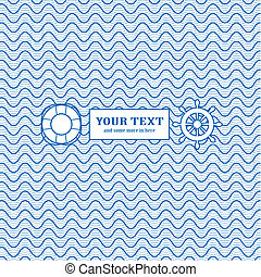 Blue and white marine background: waves and sail icons