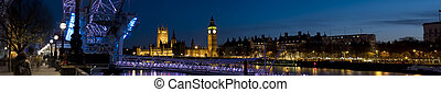 XXL - Houses of Parliament and London Eye at Twilight -...