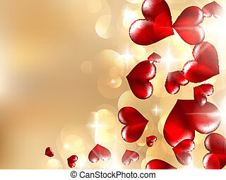 Realistic bokeh lights with hearts.