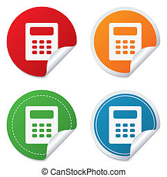Calculator sign icon Bookkeeping symbol Round stickers...