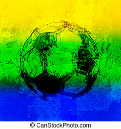 Brazil 2014 Vector Water Color Background With Ball