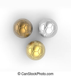 golden, silver, bronze soccer ball