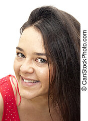 Nice Woman - Portrait of Nice Young Woman Over White...