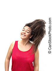 Nice Woman - Portrait of Nice Young Woman Shaking Her Hair...
