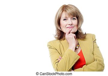 Aged woman thinking something - Senior lady thinking about...