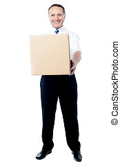 Sir, here is your parcel, kindly accept - Man holding...