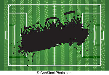 Football or soccer background with grunge slhouette of...